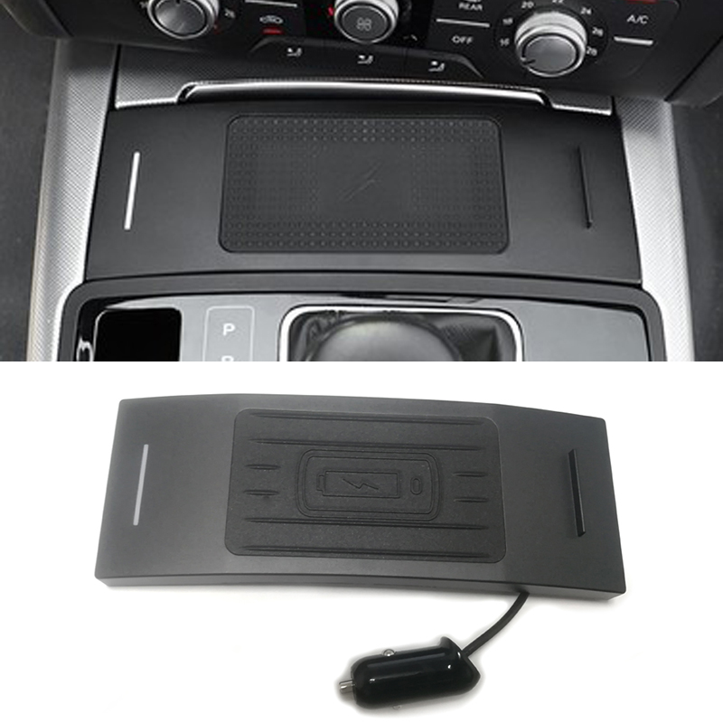 10W Car QI Wireless Charger Mobile Phone Charger Chargring Plate Accessories For Audi A6 C7 RS6 A7 2012-2018 For IPhone 8 X
