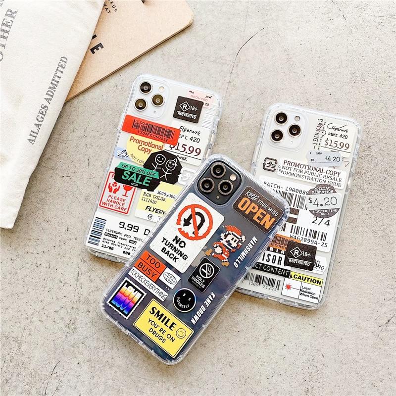 Fashion Retro Label Phone Cases For iPhone 11 12 Mini Pro XS Max X XR 7 8 Plus SE 2020 12Pro 11Pro Luxur Soft TPU Airbag Cover 2