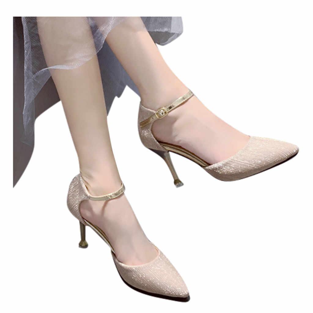 Giày Sandal Nữ Thời Trang Mùa Hè Nút Giày Cao Gót Đầu Mỹ Giày Xăng Đan Mùa Hè Giày Đi Biển Vào Cổ Phiếu