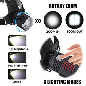 Image 3 - Super Bright LED ไฟหน้า P70.2 Wick USB ไฟหน้าแบบชาร์จไฟได้กันน้ำตกปลา 3 โหมดขับเคลื่อนโดย 18650