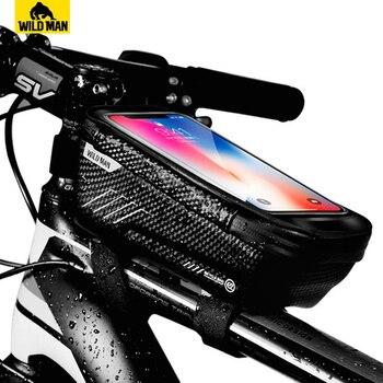 Saco da bicicleta frente do telefone saco de bicicleta quadro ciclismo saco à prova dwaterproof água caso do telefone titular da tela de toque acessórios da bicicleta superior tubo sacos 1