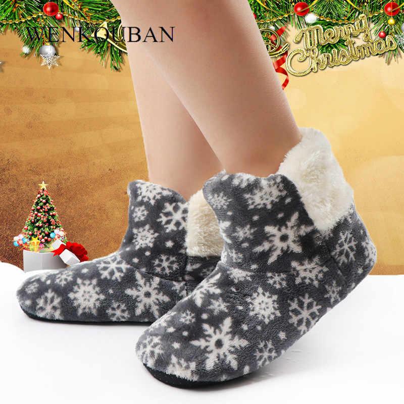 Kadın kış yarım çizmeler sıcak kapalı kat ayakkabı bayanlar kürk kar tanesi kar ev botları pamuk Bootie Anti-Skid Botas Feminina