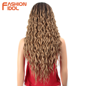 Image 2 - ファッションアイドル 28 インチの毛、合成レースフロントかつら黒人女性のためのソフトルース波の毛オンブル茶色ピンク熱にくい髪