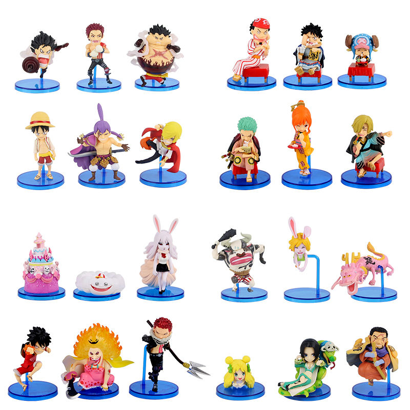 6pcs/lot Anime <font><b>One</b></font> <font><b>Piece</b></font> <font><b>Luffy</b></font> Zoro Sanji Charlotte Hancock Ace Marco Cute Mini Doll PVC Figure Collection Model Toys image