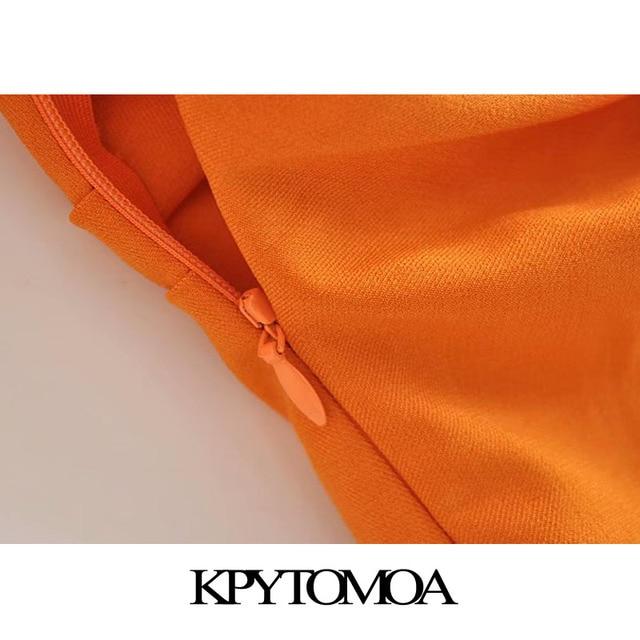 KPYTOMOA Women 2020 Chic Fashion Button-up Draped Midi Shirt Dress Vintage Short Sleeve Side Zipper Female Dresses Vestidos 5