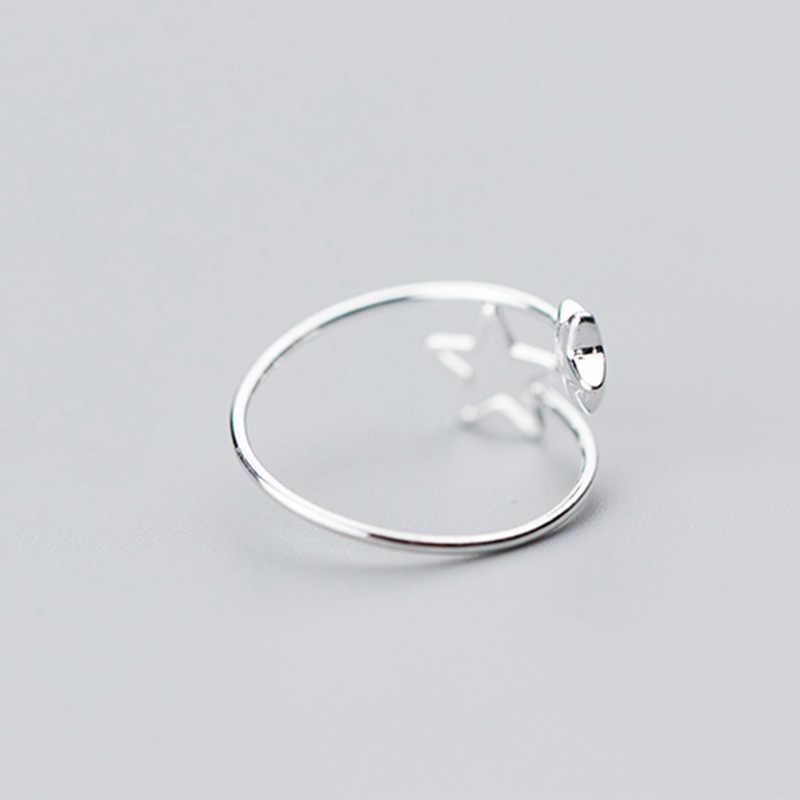 INZATT gerçek 925 ayar gümüş Hollow yıldız ayarlanabilir yüzük moda kadın parti sevimli güzel takı Minimalist aksesuarları