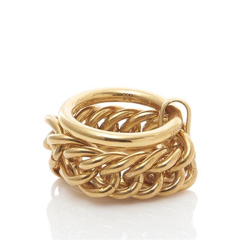 Hip Hop embuscade anneau Unique nouvelle chaîne de verrouillage trois anneaux hommes femmes japon et corée du sud européenne américaine INS tendance bijoux