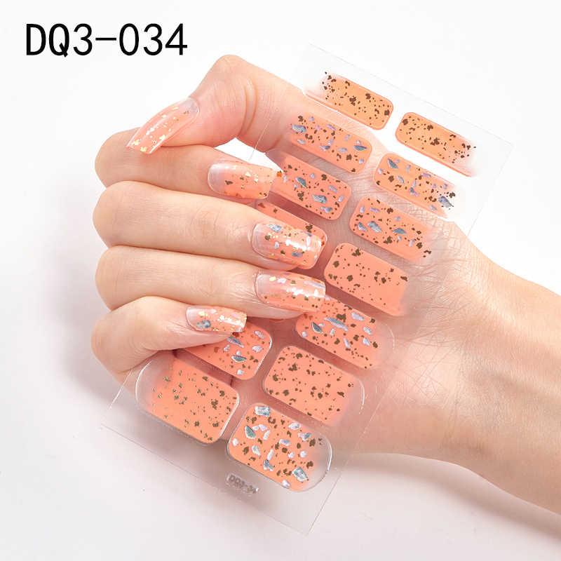 Cintas adhesivas para uñas, 14 consejos de cobertura completa, pegatinas para uñas, decoraciones para uñas, Manicura en polvo brillante con diseños de fresas