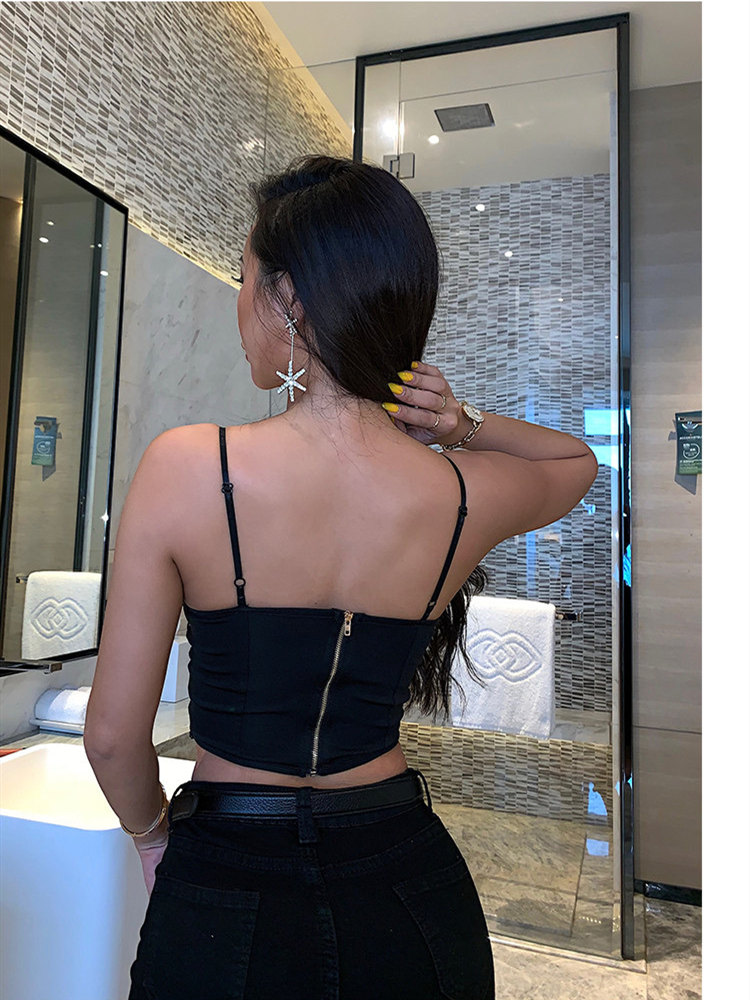 XIBANI Sexy Lace Strap Backless Short Women Crop Top Nightclub Solid Black Lace Up Summer Beach