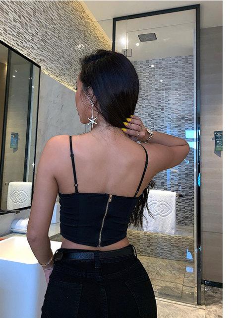 XIBANI Sexy Lace Strap Backless Short Women Crop Top Nightclub Solid Black Lace Up Summer Beach Boho Women Camis Top Tank Top 4