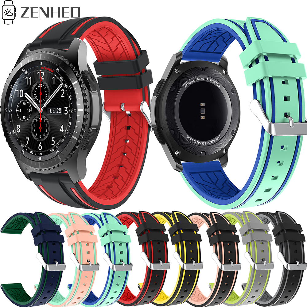 22mm Silicone Strap For Samsung Galaxy Watch 46mm/Gear S3 Frontier/Classic Bracelet Wristband Replacement Watch Band