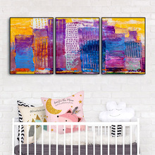 Laeacco 3 Panel Abstract Watercolor Posters and Prints Graffiti Wall Art Paint On Canvas Painting Nordic Living Room Home Decor