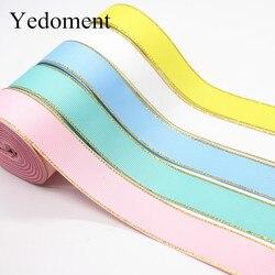 10 Yards 10MM/25MM/38MM Glitter Gold Edge Grosgrain Ribbon For Hair Bows/ Gift Packaging DIY Handmade Materials Y19042101