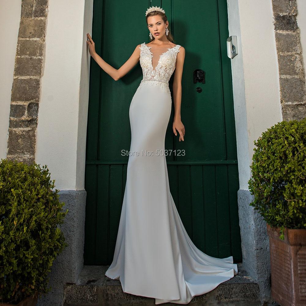 Mermaid Wedding Dresses Deep V Neck Sleeveless Lace Appliques Backless Vestido De Noiva Sweep Train Bridal Gown
