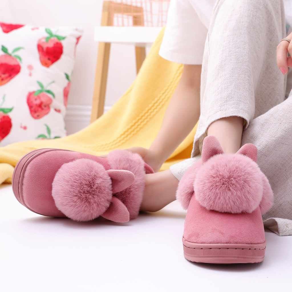 Winter Ladies Women Indoor Shoes Warm Home Slippers Furry Plush Footwear House