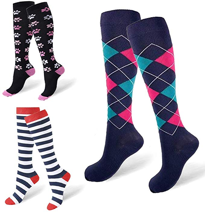 Unisex Fun Compression Socks Men Women Nylon Yarn Outdoor Sports High Long Tube Stockings Running Socks Happy Colorful Marathon