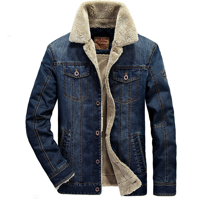 Thick Warm Winter Denim Jacket <font><b>Men</b></font> Stand Collar <font><b>Plus</b></font> <font><b>Size</b></font> <font><b>6XL</b></font> <font><b>Mens</b></font> Jeans Cowboy Jacket Jaqueta masculina Brand <font><b>Clothing</b></font> image
