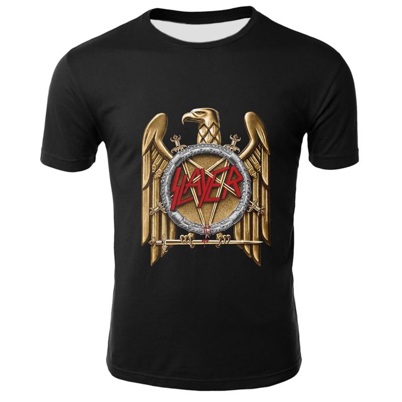 Fashion Slayer T Shirt Men Rock Style T Shirts Summer Black Tshirts Short Sleeve Cool Animal Printed Tops Hip Hop Men Streetwear