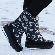 Snow boots men Waterproof Plush Warm Winter boot Hook & loop Designer Mid-calf Boots for plus size 13.5 Nylon