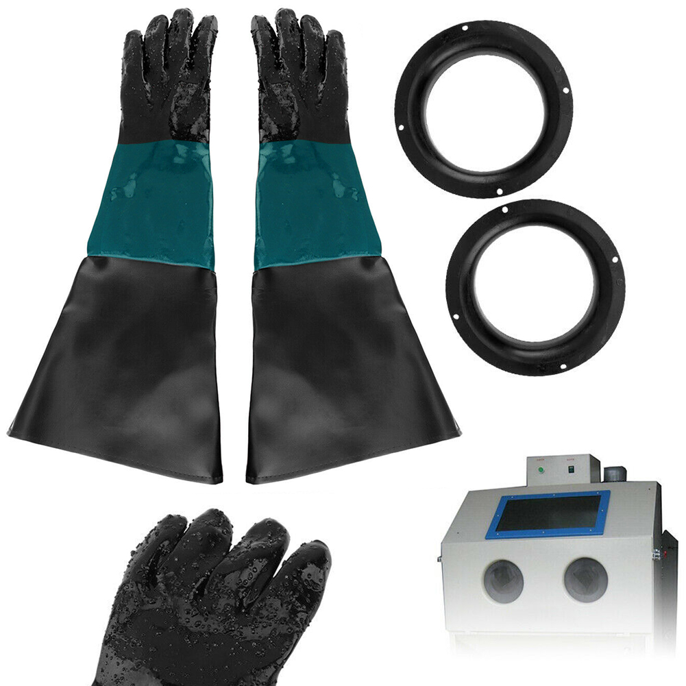 Industrial Wear Resistance Professional Heavy Duty Elastic Sandblasting Soft PVC Blast Cabinet Protective Gloves With O Rings
