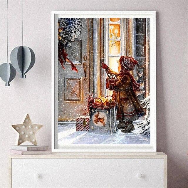 Broderie Diamant Noël Enfant tableau accroché
