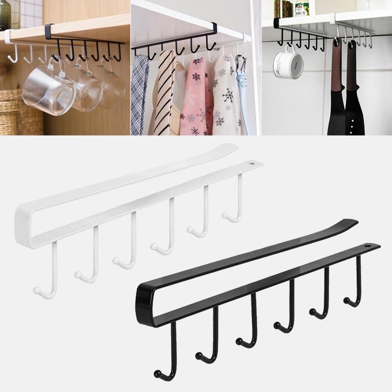 Kitchen Cupboard Storage Rack Cupboard Shelf Hanging Hook Organizer Closet Clothes Glass Mug Shelf Hanger Chest Hanging