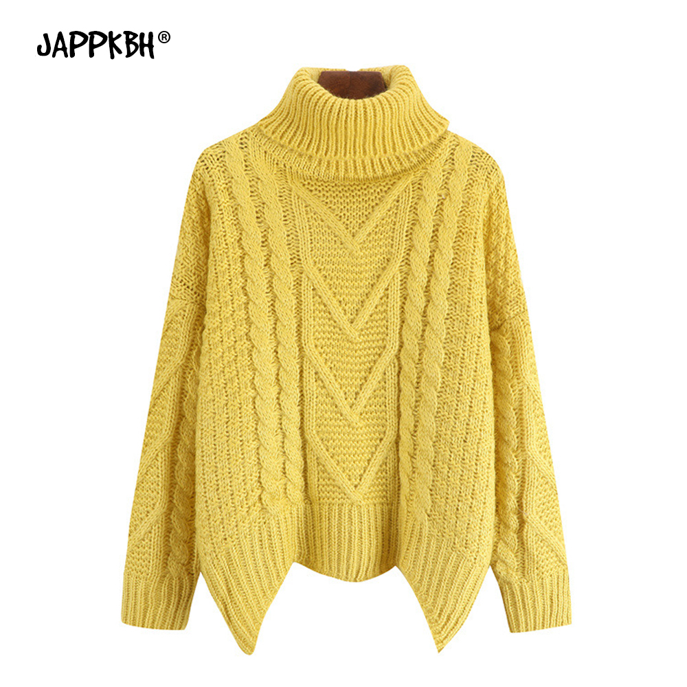Autumn Winter Sweater Women 2019 Solid Warm Thick Oversized Sweater Vintage Casual Turtleneck Pullover Loose Knitted Sweaters