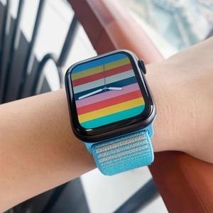Ремешок нейлоновый для Apple watch band 44 мм 40 мм 42 мм 38 мм, спортивный браслет для смарт-часов iWatch series 3 4 5 6 se band