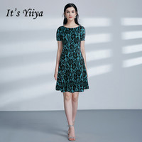 It's Yiiya Cocktail Dresses Plus Size For Women Formal Dresses Knee Length Elegant O neck Short Sleeve Vestido De Coctel C450