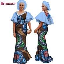 Женские африканские платья с принтом bazin черные длинные Хлопковые
