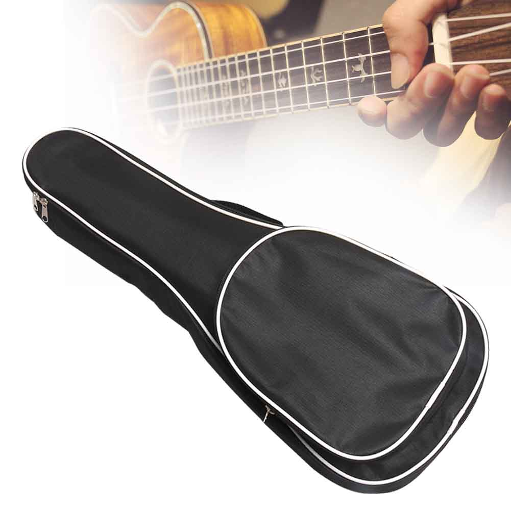 21/23/26 Inch Waterproof Shockproof Ukulele Bag Zipper Storage Pockets Thickened Padded Black Oxford Cloth Backpack Case