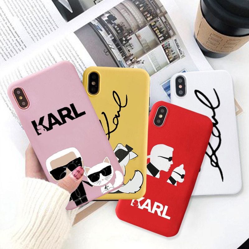JAMULAR Karl Phone Cases For iPhone X 11 Pro XS MAX XR 7 6 6s 8 Plus Fashion Matte Soft TPU Back Cover  Cat Pattern Coque Capa