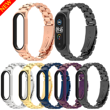 Stainless Steel Watchbands for Xiaomi Mi Band 5 4 3 Strap Metal Wrist Straps for mi band 3 4 5 Smart Wearable Watch Accessories cheap CN(Origin) Other New without tags for mi band 5 4 3 with watch case