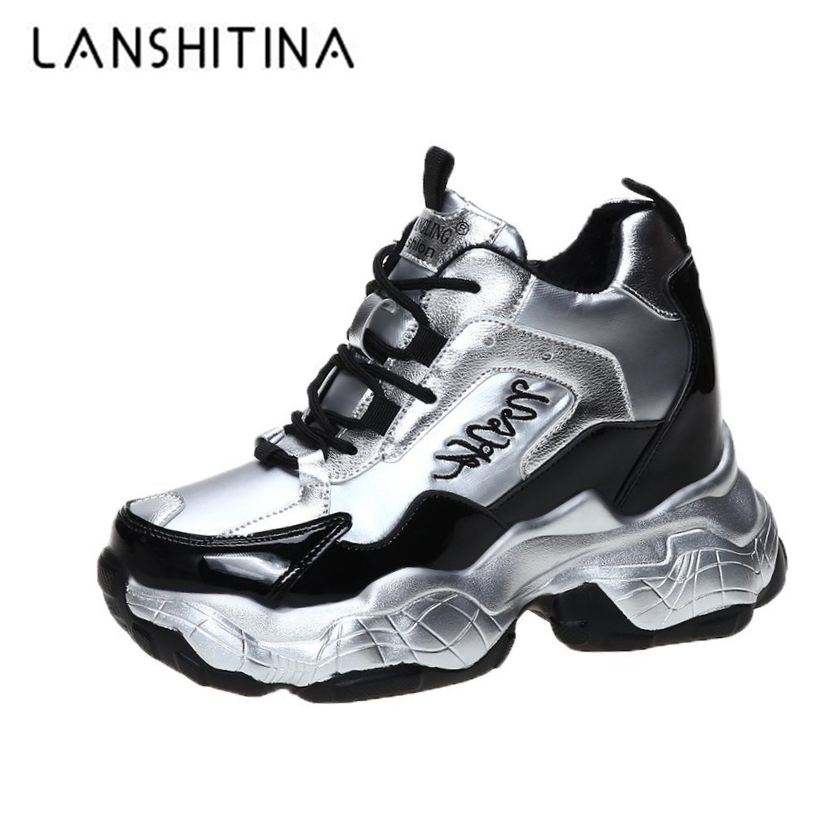 Spring Laser Walking Sneakers Wedges Women Winter Warm Fur Chunky Shoes Platform Female Sports Ladies Running Shoes for Woman