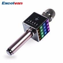 Excelvan микрофон для караоке Беспроводной динамики и микрофон с Bluetooth модулем с светодиодный свет адаптировать для iOS Android приставка для телевизора домашний K ТВ