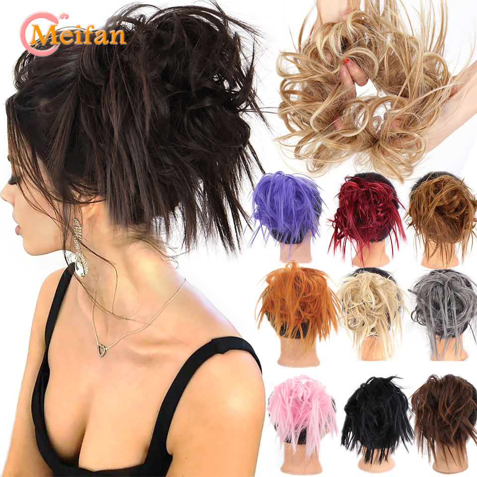 Синтетический Пушистый пучок MEIFAN, пушистый шиньон с резинкой, шиньон, хвост, удлинитель волос для женщин