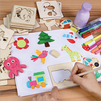 iPiggy Children learn drawing tools baby DIY painted color painted painting template set of children 's educational toys