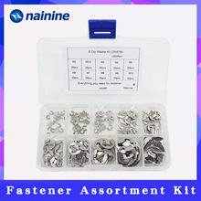 200Pcs/set 304 Stainless Steel E Clip Washer Assortment Kit 2 3 4 5 6 7 8 9 10mm Circlip Retaining Ring for Shaft Fastener A087