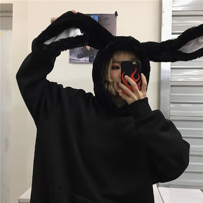 Rabbit Ears Hoodies Loose Fashion Harajuku Autumn Winter Warm Hooded Plush Pullovers