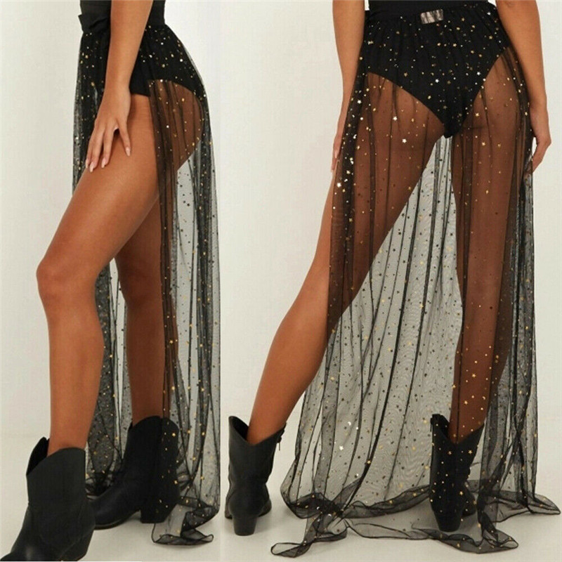 Women Sexy Shiny Sequins Bikini Cover Up Swimsuit Summer 2020 New Lady Elastic Waist Mesh Maxi Wrap Skirt Sarong Pareo Beachwear