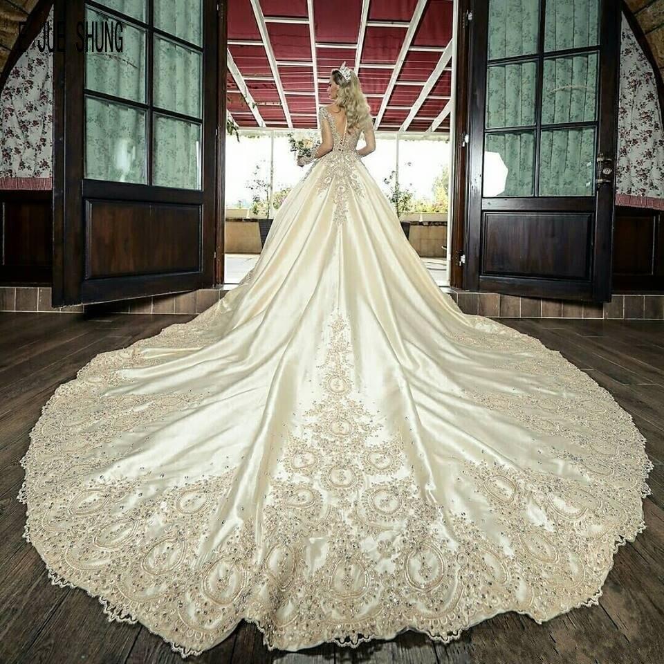 E JUE SHUNG Gorgeous Long Train Wedding Dresses O-Neck Long Sleeves Lace Appliques Beaded Luxury Bridal Gowns Vestido De Noiva