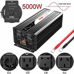 Image 1 - Onduleur pour installation solaire à onde sinusoïdale pure 5000W, 12 24 48V DC vers 110 220V AC, avec télécommande et affichage numérique