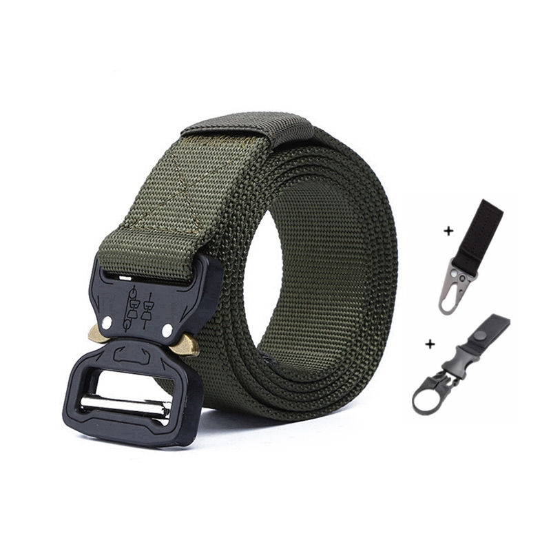 Тактический ремень для спорта на открытом воздухе, нейлоновые поясные ремни с аксессуарами для охоты, армии, тяжелая тренировочная Боевая Мужская Военная - Color: A belt and 2 hook