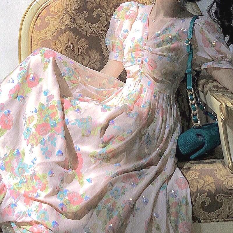 2020 Style français Vintage robe florale femmes été décontracté à manches courtes a-ligne fée longue robe femme corée vêtements été