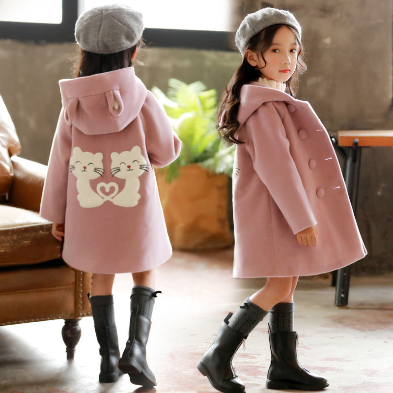 Girls Clothes Autumn And Winter 2019 New Children Fashion Cartoon Thick Warm And Medium Long Woolen Coat Jackets 4-12 Year