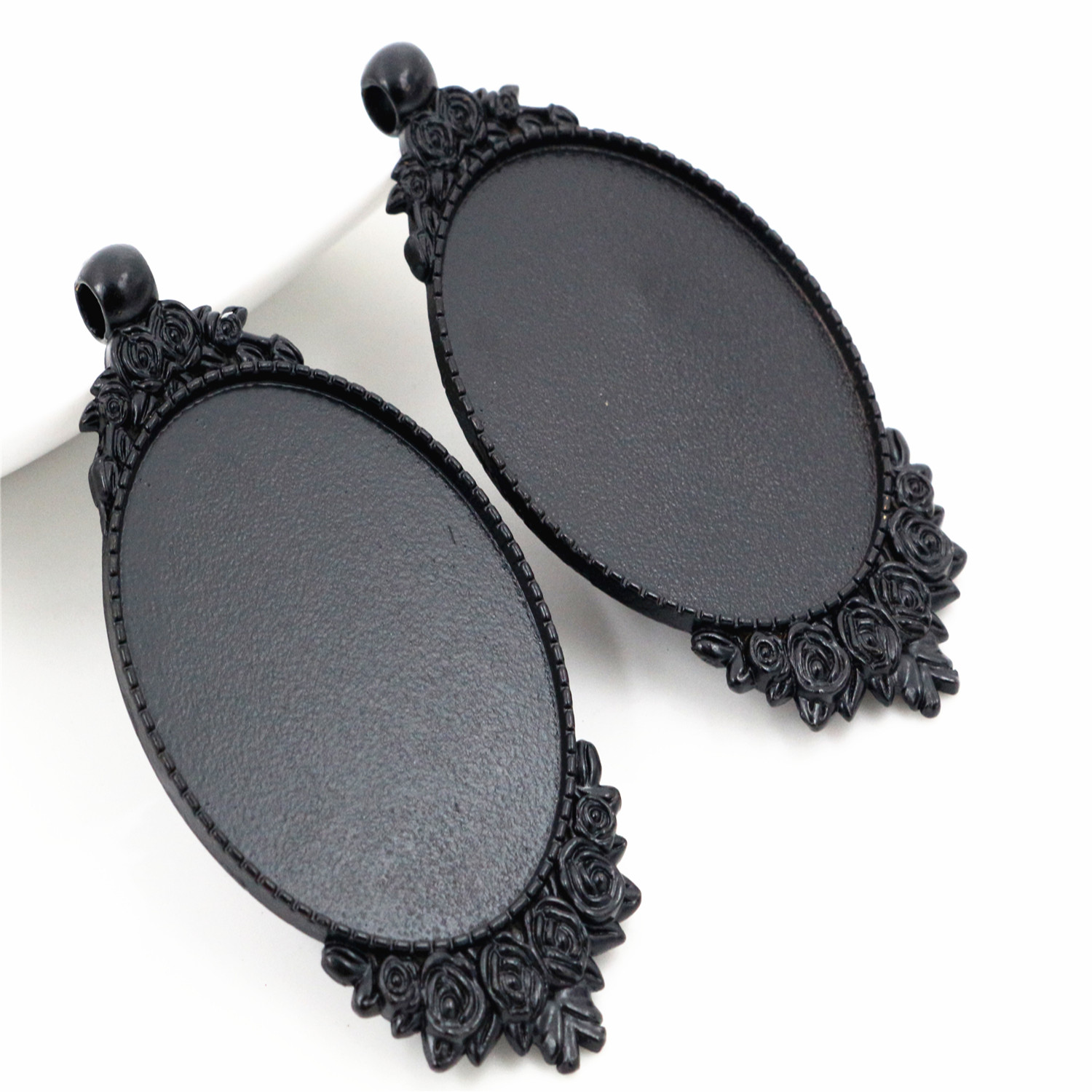 New Fashion 5pcs 30x40mm Inner Size Black Colors Plated Flower Style Cabochon Base Setting Charms Pendant (B3-15)