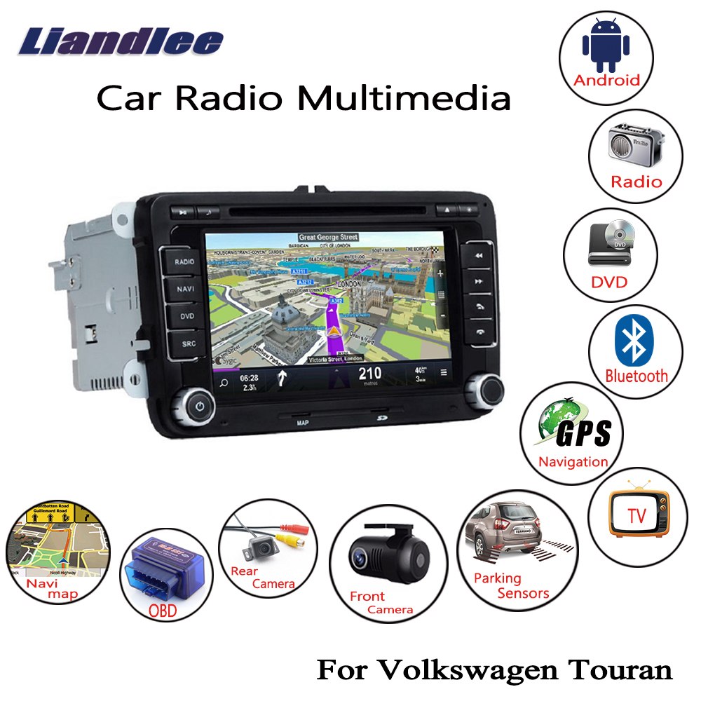 Liandlee For Volkswagen <font><b>VW</b></font> <font><b>Touran</b></font> 2003~2015 Android Car <font><b>Radio</b></font> CD DVD Player GPS Navi Navigation Maps Camera OBD TV Screen image