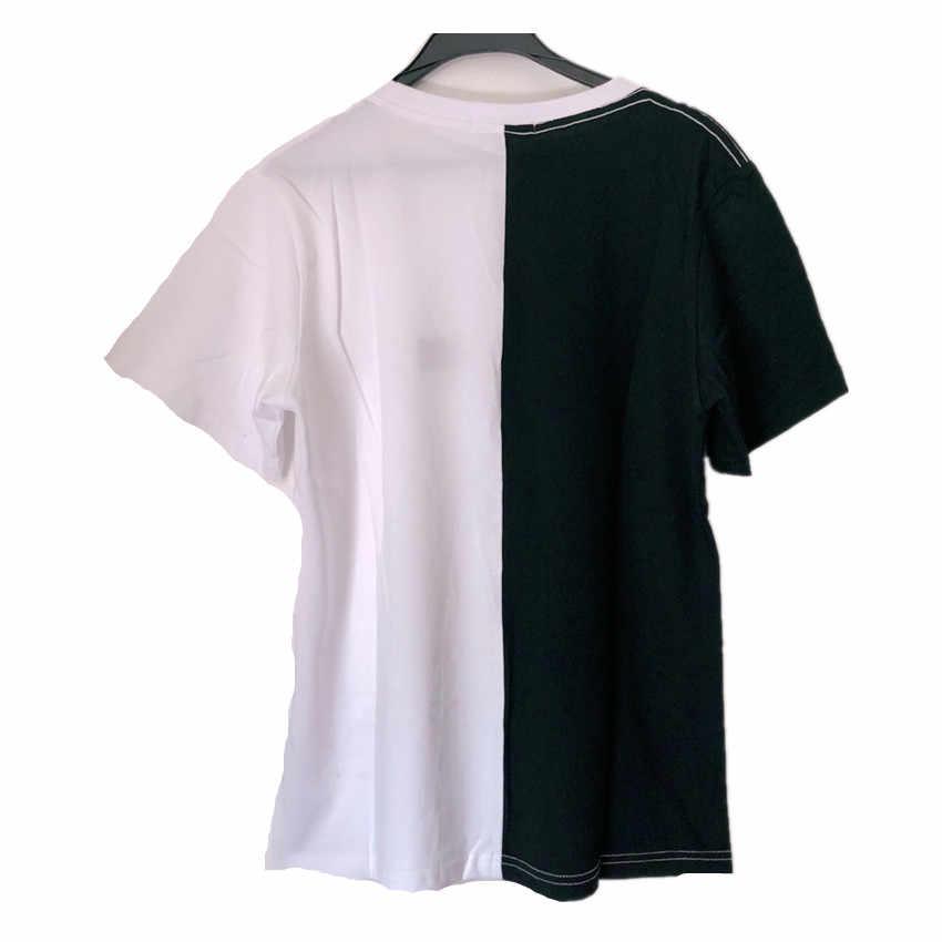 Sondirane nowa moda czarny/biały damski T koszula z krótkim rękawem bawełna kobiet T-shirt Harajuku para Tshirt topy Camiseta Mujer