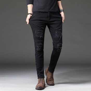 2020 Men Stretch Jeans Biker Jeans Denim  Pleated  Knee Holes Ripped Slim Fit  Men distressed jeans knee holes frayed zipper fly narrow feet ripped jeans