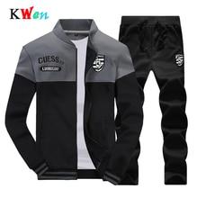 Dropshipping Customize DIY EU/US Size Men Sets Sporting Suit Sweatshirt +Sweatpants Mens Clothing 2 Pieces Slim Tracksuit